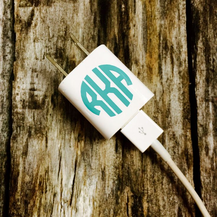 iPhone iPad iPod Charger Monogram Decal Sticker Free Shipping in USA by customvinylbydesign on Etsy https://www.etsy.com/listing/223411212/iphone-ipad-ipod-charger-monogram-decal