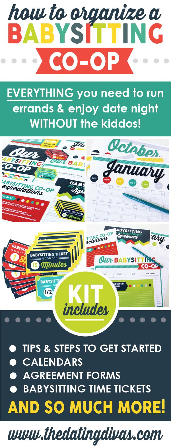 Everything I need to start my own babysitting co-op! Calendars, tickets, instructions and more!  www.TheDatingDivas.com