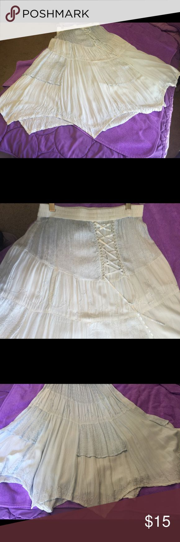 Light Blue Sheer Long Summer Skirt Local made renaissance inspired skirt. Has lace up in the front. Sheer lace panels. Perfect condition. Raja Skirts Maxi
