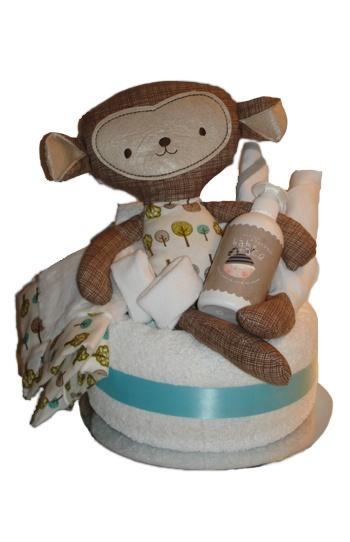 Softie Single Tier Nappy Cake    $89.00  12 Huggies nappies  1 white bath towel  1 Plush Toy 20x40cm  1 Matching blankie 30x30cm  1 Baby body wash  1 newborn socks  1 cloth nappy  1 newborn bib  1 newborn singlet
