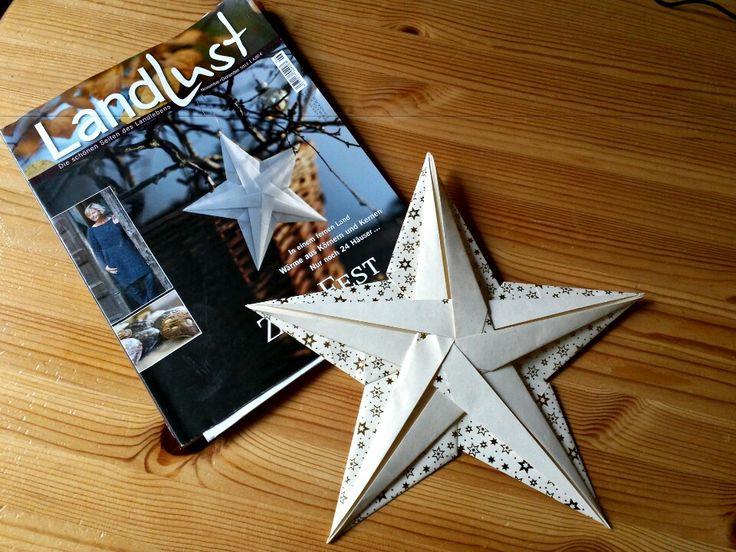 Ein Faltstern aus der aktuellen Ausgabe der Zeitschrift LandLust.  http://meinrinteln.wordpress.com/2013/11/12/faltstern-2/