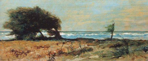 "Fattori, Giovanni (1825-1908) - 1880 Libecciata (Pitti Palace Museum, Italy)   ""Macchiaioli"" Painters    #TuscanyAgriturismoGiratola"