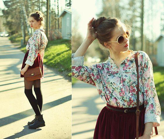 Glitter Sunglasses, Thrift Shop Floral Blouse, Chicwish Velvet Skirt, Primark Bag, Lindex Over Knee Socks, Vagabond Combat Boots