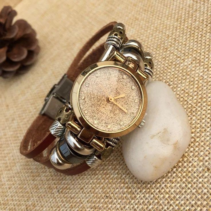 Fashion Genuine Leather Multilayer Bracelet Wristwatch Charm Rhinestones Gold Clock Dial Watch online - NewChic