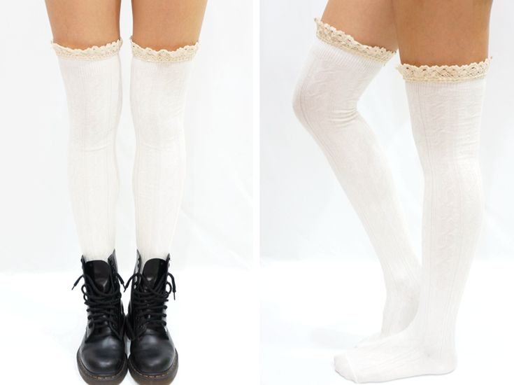 Comfy+Lace+Trim+Knit+Thigh+High+Boot+Socks   Free+Size+