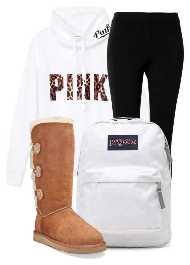 """26 September 15"" by kiarahcarson ❤ liked on Polyvore featuring Victoria's Secret PINK, Max Studio, JanSport and UGG Australia"