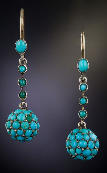 Antique Turquoise Ball Earrings, Three-dimensional turquoise-set orbs, of relatively small proportion, swing and sway from these darling 1-inch long Victorian drop earrings.