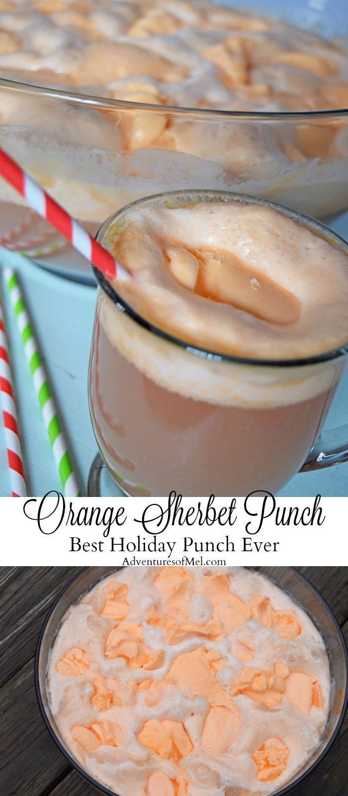 Inspired by Grandma's yearly tradition at Christmas time, orange sherbet punch is super easy to make and the best holiday punch ever. It's the one party drink that will have your guests asking for the recipe. Only 4 simple ingredients, and you've got a tasty holiday beverage!