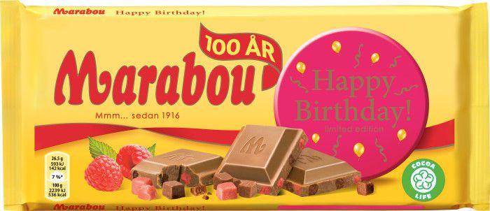 Marabou Milk Chocolate HAPPY BIRTHDAY 100 Year Bar 200 g (7.0 oz) Made in Sweden #Marabou