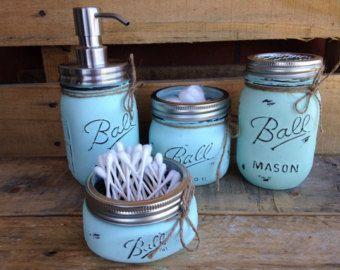 Mason Jar Bathroom Organization Set Painted Mason by LaneofLenore