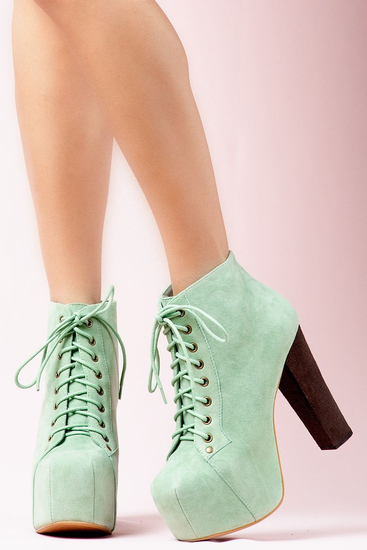 Suede Wood Heel Mint Shoes