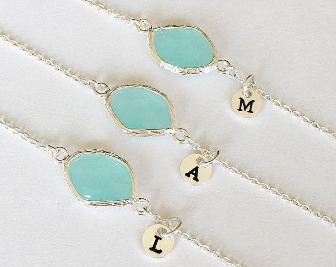 Las damas de honor pulsera regalo, Florista, menta verde piedras preciosas pulsera inicial las piedras personalizadas, cumpleaños, joyería de la pulsera boda