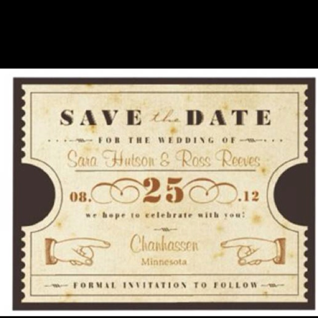 Our ticket style save the date cards (since we are getting married in a theatre!)Ticket Stubs, Dates, Vintage Wardrobe, Ticket Saving, Wedding Invitations, Vintage Ticket, Events Held, Vintage Inspiration, Inspiration Ticket