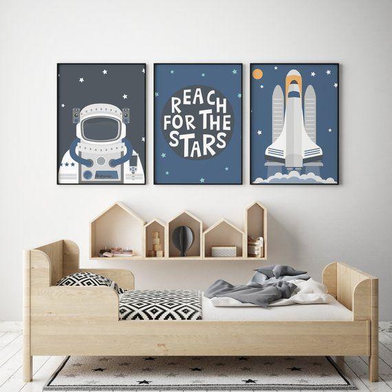 Lot De 3 Affiches Fusee Astronaute Affiche Scandinave Dessin