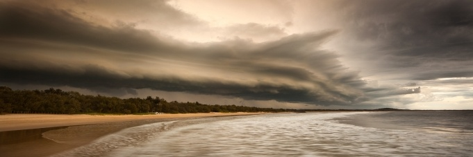 An shelf cloud of an ominous storm looms over Noosa in the photo by Ben Messina, which was a finalist in the Open Nature category of the 2012 Epson International Pano Awards.