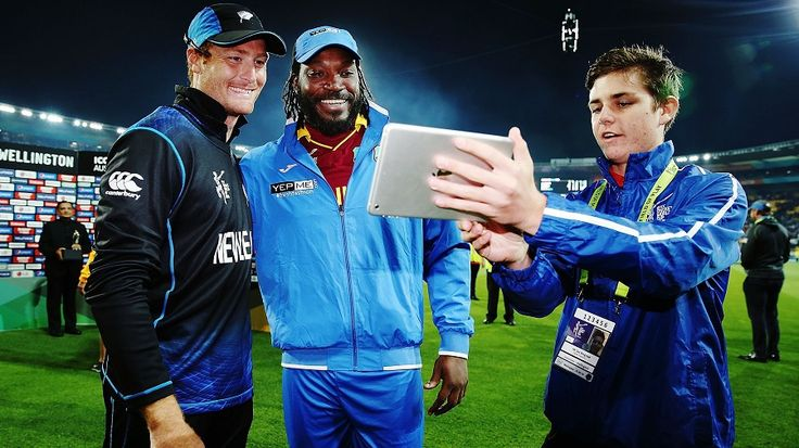 The double-centurions club: Martin Guptill and Chris Gayle pose for a twitter photo, New Zealand v West Indies, World Cup 2015, 4th quarter-final, Wellington, March 21, 2015