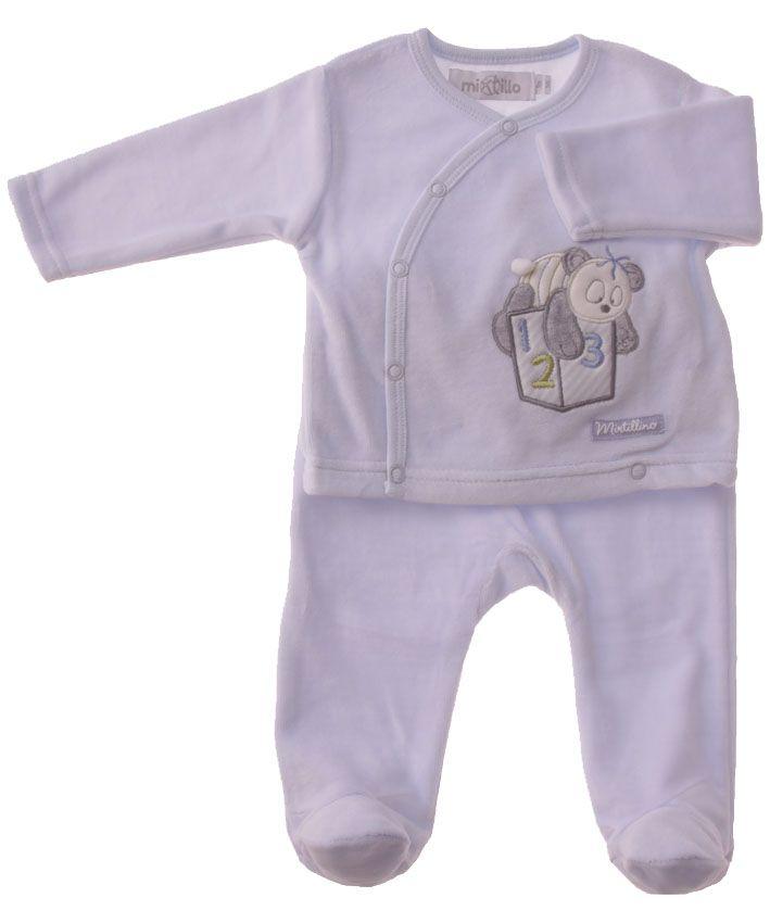 2 Piece Baby Suit Baby Blue Panda Motif - Baby Boy Clothes - Boutique Signorelli
