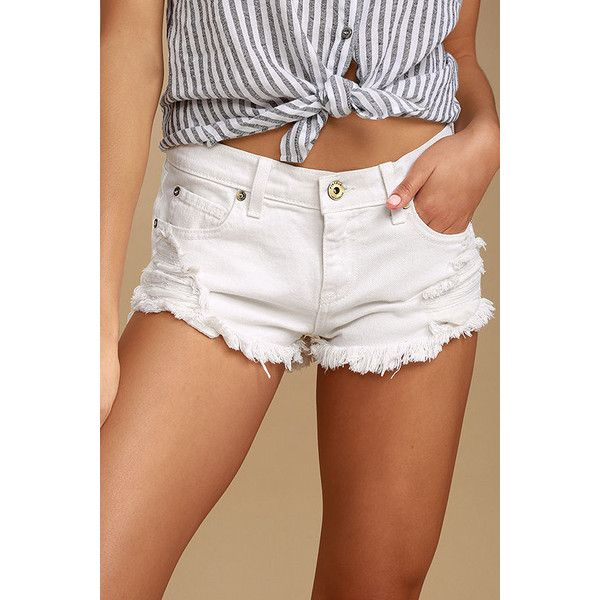 Talk to Me White Distressed Cutoff Denim Shorts ($78) ❤ liked on Polyvore featuring shorts, white, white jean shorts, cut-off jean shorts, denim cut-off shorts, destroyed jean shorts and low rise jean shorts