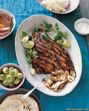 Baja Style Grilled Fish with Cumin, Oregano & Chili Powder...I'll probably never make this but WOW that looks good