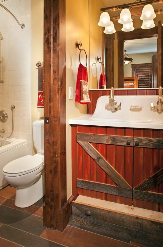 Barn door custom cabinet ... love the sink and faucets . A pull out step for the little ones... What a Great Idea!