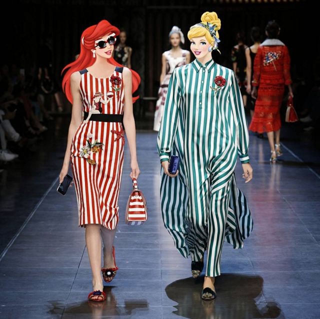 The Little Mermaid and Cinderella strut in stripes.