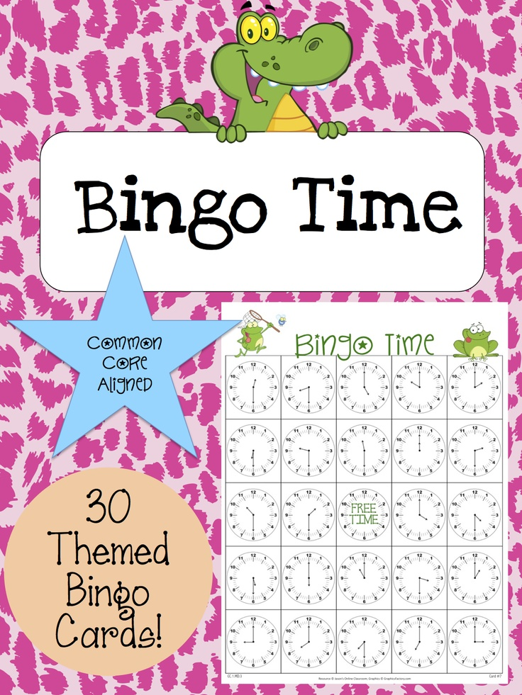 PLEASE REPIN ME :) This packet contains 30 randomized and uniquely themed bingo cards, 1 control card with the time in proper sequence, and 1 bingo calling card. We suggest that all pages are printed out and laminated. After laminating, cut out the bingo calling card pieces to be used during the game. Students can select a bingo card, use a dry erase marker to write the digital time on top of the clock time (to make the game quicker), and then the game can be played as a class or small…