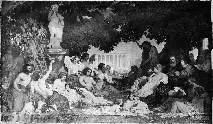 //// 도미니크 루이 파프티 <행복의 꿈> -19세기 경 제작 //// 고대 그리스시대의 사람들을 그려놓은 것 같은 작품이다. 뒷편으로 보이는 그리스 신전과 같은 건물과 우거진 숲과 디오니소스의 동상, 그 아래에 평화로워보이는 사람들. 아마 정황상 축제와 유흥의 신이기도 한 디오니소스의 신전 앞 숲에서 사람들이 즐거운 한때를 보내고 있는 것이 아닌가 싶다. 연인들은 다정하게, 아기들은 정답게 놀고 있다. 그런데 유독 그 복장에 있어서 어울리지 않는 사람이 있다. 오른쪽 나무 아래에 있는 남자 두명이다. 고대 그리스의 복장은 절대 아니며 그 둘만 미래에서 툭하고 떨어진 것 같다. 두 남자의 관계 역시 조금 아리송하다. 이 그림 역시 정보가 부족하다보니 의문을 확실히 답할 수는 없다. (댓글에서 계속)