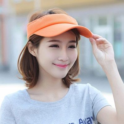 Trendy Orange Pure Color Empty Top Shape Design Acrylic Fibres Sun Hats :Asujewelry.com