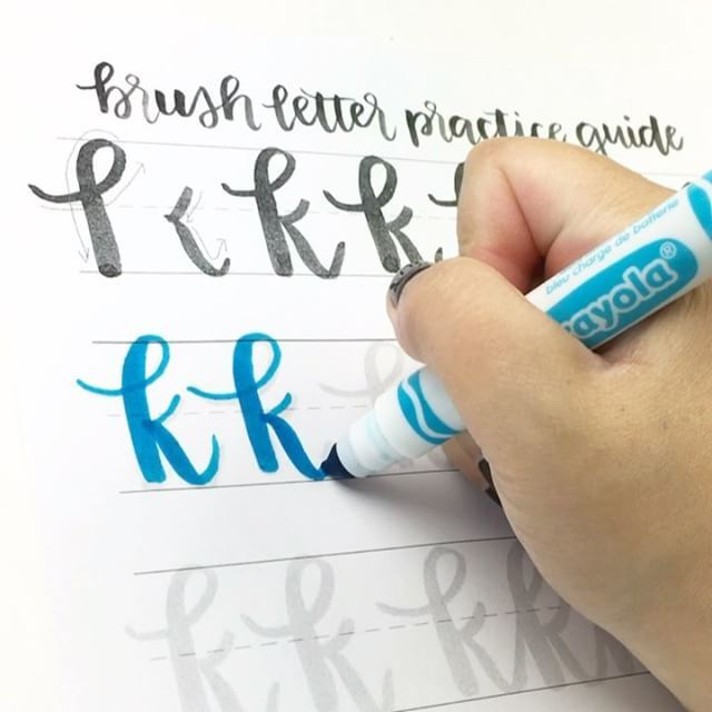 Did you know you can get use Crayola markers to get a brush calligraphy effect? It's a slightly different skill than lettering with an actual paintbrush, but it totally deserves practice too! Practice when to put pressure (lots of pressure) and when to ease up on pressure by going slow with a traceable practice sheet. . .  Crayola markers strokes in action at 1x (real time!) speed using a broad tip Crayola marker. . .  Practice sheet is from the comprehensive Brush Letter Practice Guide…