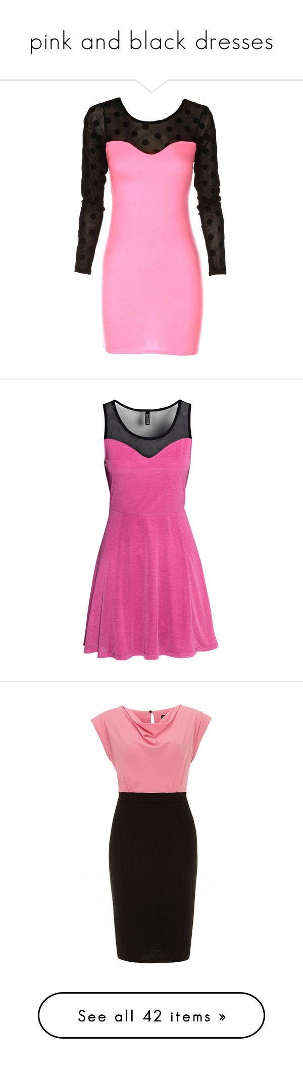 """""""pink and black dresses"""" by lulucosby ❤ liked on Polyvore featuring dresses, mesh bodycon dress, long sleeve polka dot dress, pink dress, pink polka dot dress, mesh dress, h&m, shiny dress, sleeveless short dress and short dresses"""