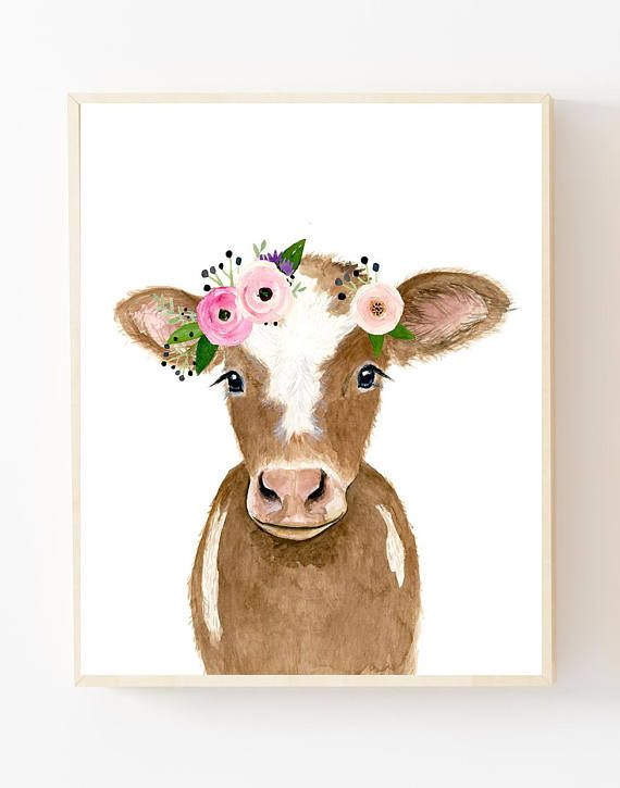 Flower crowned brown calf, baby farm animals, cow painting, babby cow, prints, nursery animals, girl decor, floral nursery, big girl room