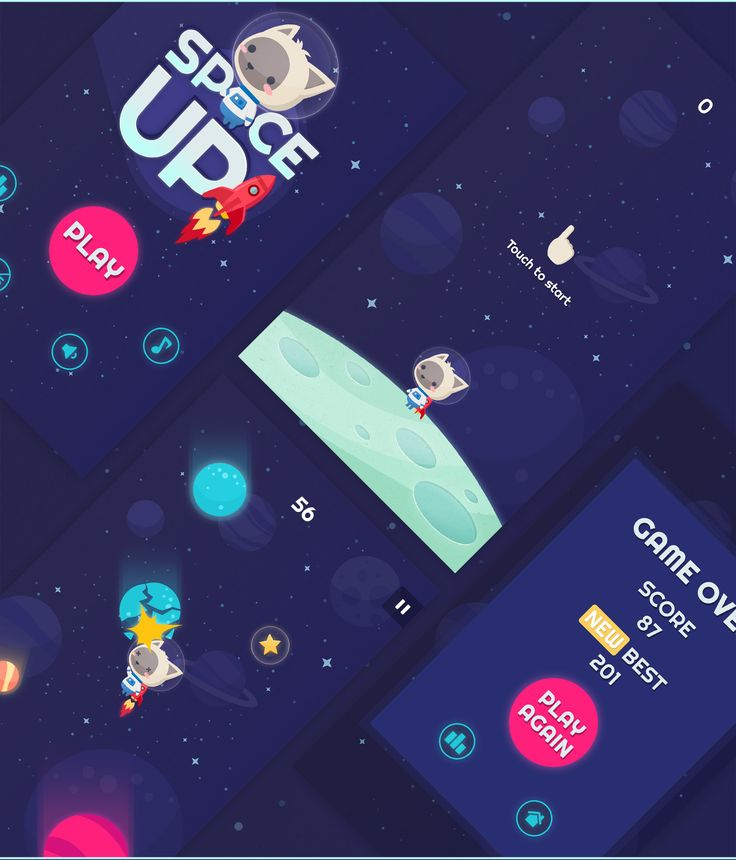The graphic design of the little iPhone game - Space Up!