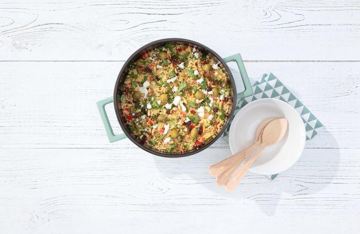 Couscous maaltijd met spinazie en munt