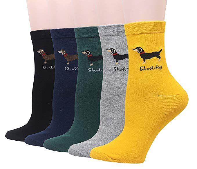 Pomlia Womens Haute Dachshund Socks Dog Socks Casual Crew Socks