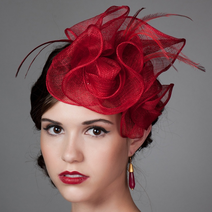 """Sculpted Sinamay Fascinator in Poppy Red """"Anastasia"""".   #millinery #judithm #sinamay"""