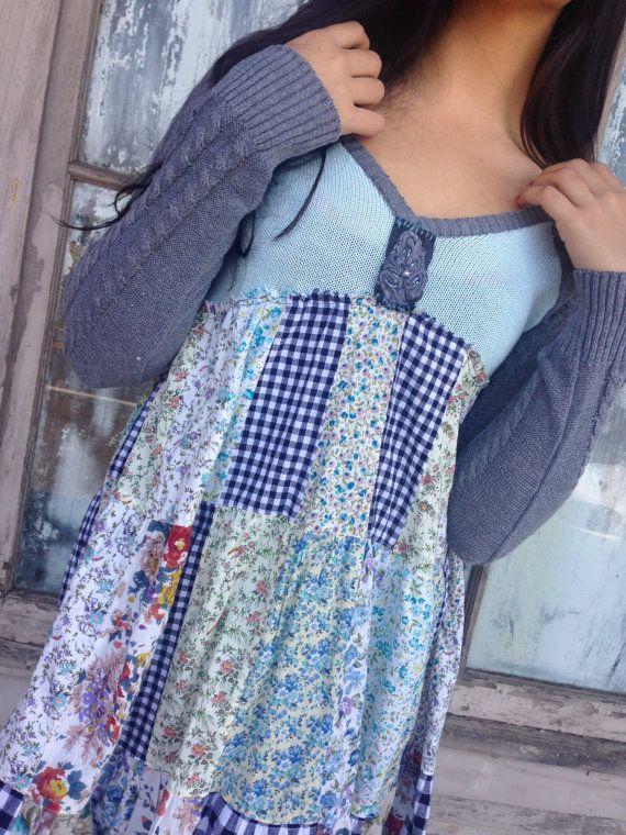 Sidney dress-small medium-artsy-Eco clothing-upcycled