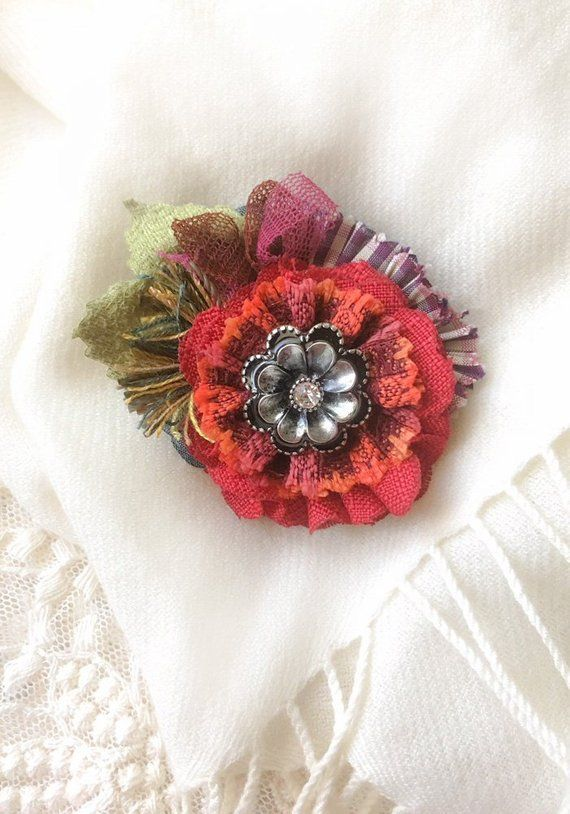 Red Lapel Pin - Red Flower Brooch - Christmas Pin - Floral Brooch -  Colorful Fabric Flower Pin - Gif 5f9c36eaf