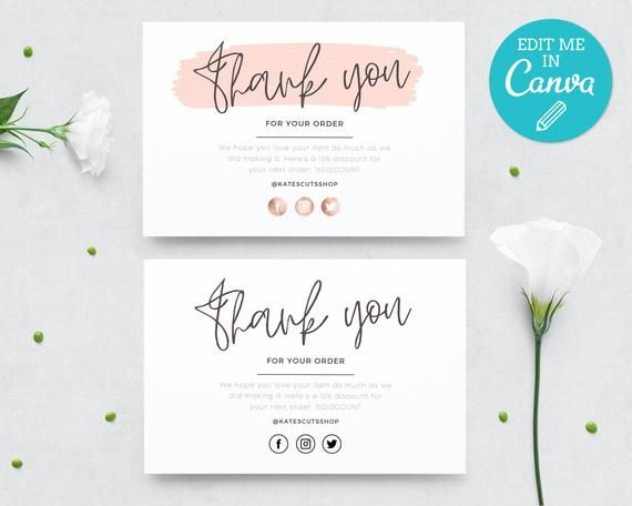 Pink Thank You For Your Order Template Editable Thank You Etsy Thank You Card Design Thank You Card Template Card Templates Printable