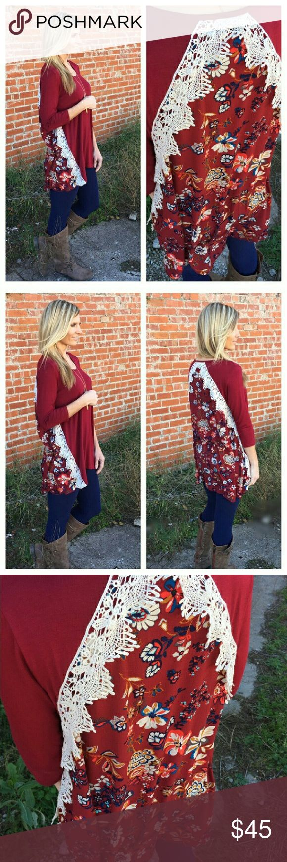 NWT BURGUNDY FLORAL & LACE TUNIC Burgundy Floral and lace accent tunic.  95% rayon 5% spandex. Infinity Raine Tops Tunics