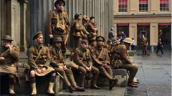 Soldiers dressed in WW1 uniform in Royal Exchange Square in Edinburgh 100th Anniversary of WW1 Battle of the Somme