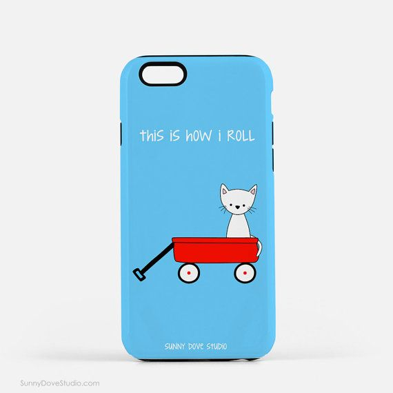Funny Phone Case Christmas Gift For Friend Girlfriend Her iPhone Teen Red Wagon Cat Pun How I Roll Cute Kawaii Gifts 7 Plus 6 6s 5s s6 s5