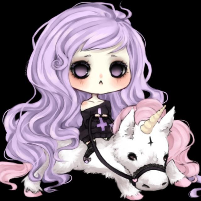 kawaii goth girl with unicorn