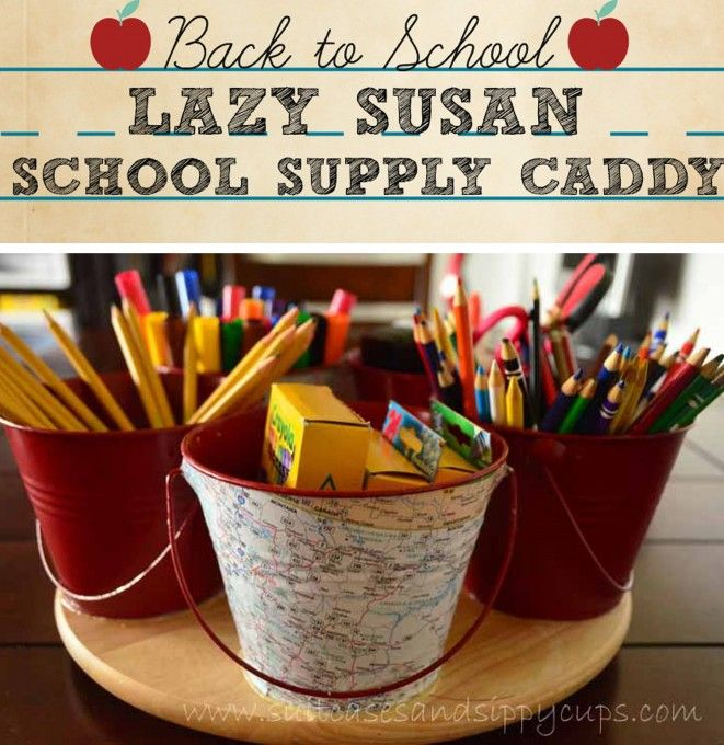 Back to School Supply Caddy Made from Galvanized Buckets and a Lazy Susan + leftover maps.
