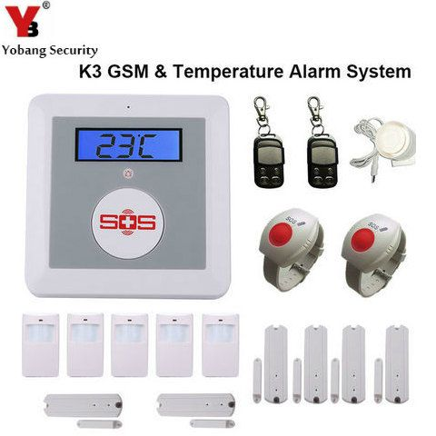 YobangSecurity Wireless Home Security Alarm System GSM SMS Senior Telecare SOS Wireless PIR Door Smoke Detector For Elder Care
