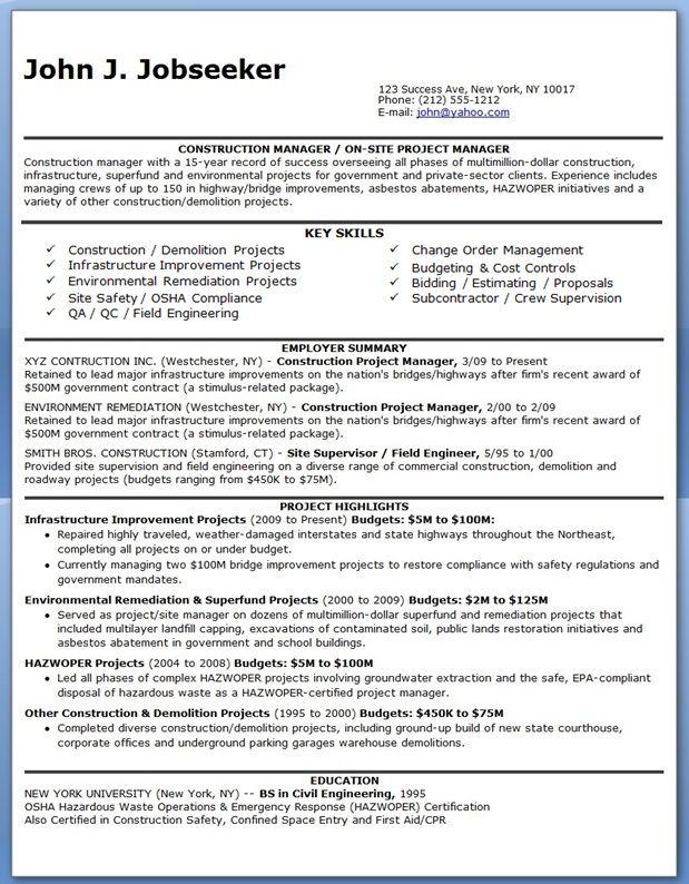 Best 20+ Construction manager ideas on Pinterest Construction - constructing a resume