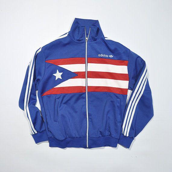 Rare Vintage 80s 90s ADIDAS PUERTO RICO Windbreaker Track Jacket   Retro Old  School Adidas Streetwear Jogging Jogger Running Flag Jacket 002919299bbc