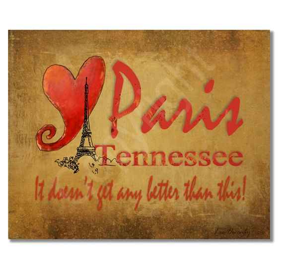 Paris Tennessee Heart Print by LeeOwenby on Etsy, $6.00