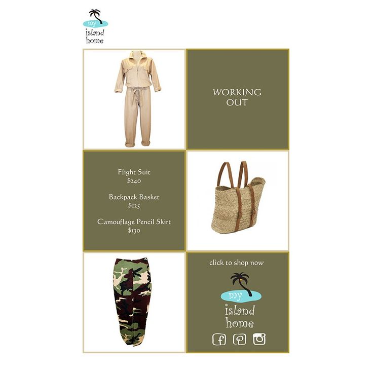 💪🏽 Working Out 💪🏽 The genius of the versatile jumpsuit - cool with strappy flats for day & super chic with heels for night esp in black. Camo pencil skirt means business with a collared shirt or smart tshirt. And the basket backpack for your New Years resolution not to use plastic shopping bags ✔️ #online #shopping @myislandhome