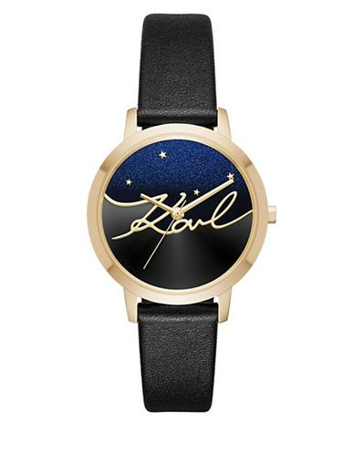 KARL LAGERFELD PARIS Camille Goldtone Constellation-Inspired Leather Strap Watch