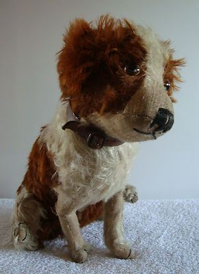 Vintage antique Farnell terrier dog with collar / teddy bear, 12'' c1920s-1930s